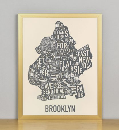 "Framed Brooklyn Neighborhood Map Screenprint, Ivory & Grey, 11"" x 14"" in Bronze Frame"