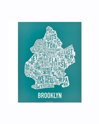 "Brooklyn New York Neighborhood Poster, Teal & White, 11"" x 14"""