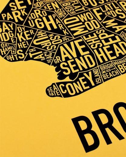 "Brooklyn New York Neighborhood Screenprint, Yellow & Black, 18"" x 24"""