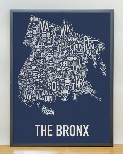 "Framed Bronx Neighborhood Map Poster, Navy & Cream, 18"" x 24"" in Steel Grey Frame"