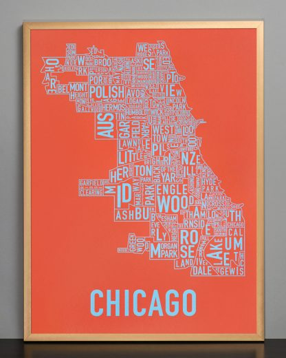 "Framed Chicago Neighborhood Map Screenprint, Orange & Blue, 18"" x 24"" in Bronze Frame"