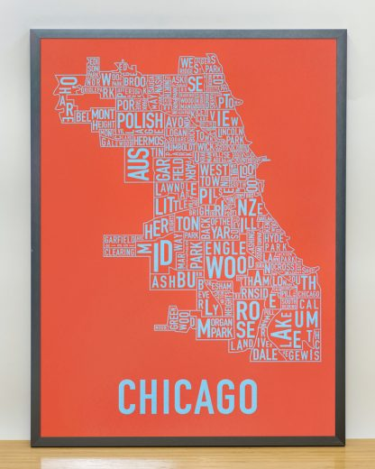 "Framed Chicago Neighborhood Map Screenprint, Orange & Blue, 18"" x 24"" in Steel Grey Frame"