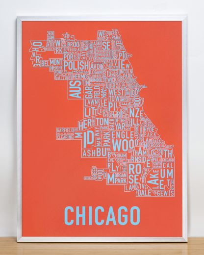 "Framed Chicago Neighborhood Map Screenprint, Orange & Blue, 18"" x 24"" in Silver Frame"
