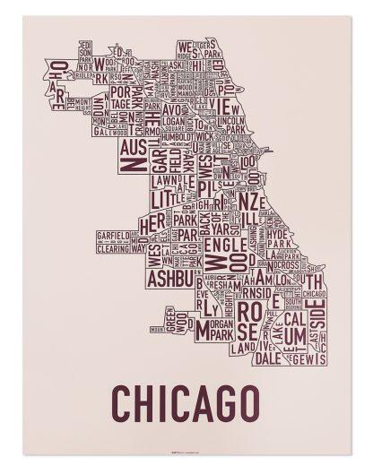 "Chicago Neighborhood Map Screenprint, Blush & Burgundy, 18"" x 24"""