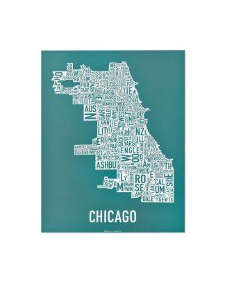 "Chicago Neighborhood Map Screenprint, Teal & White, 11"" x 14"""