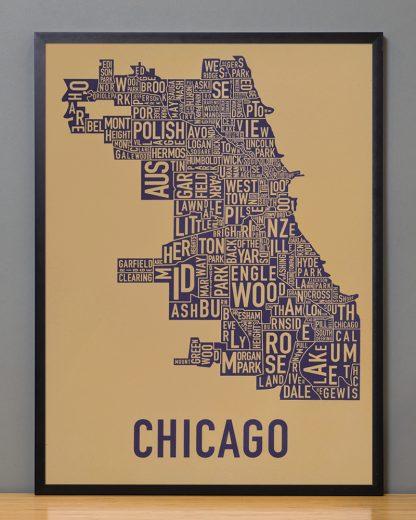 "Framed Chicago Neighborhood Map Screenprint, Tan & Purple, 18"" x 24"" in Black Frame"