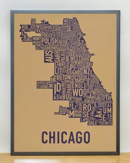 "Framed Chicago Neighborhood Map Screenprint, Tan & Purple, 18"" x 24"" in Steel Grey Frame"