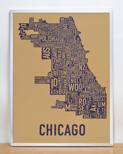 "Framed Chicago Neighborhood Map Screenprint, Tan & Purple, 18"" x 24"" in Silver Frame"