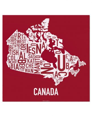 "Canada Provinces Typography Map, Red & White, 24"" x 24"""