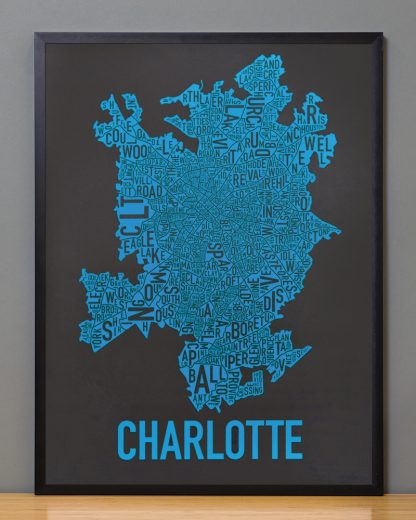 Charlotte Neighborhood Map Print Black and Blue Panthers in Black frame