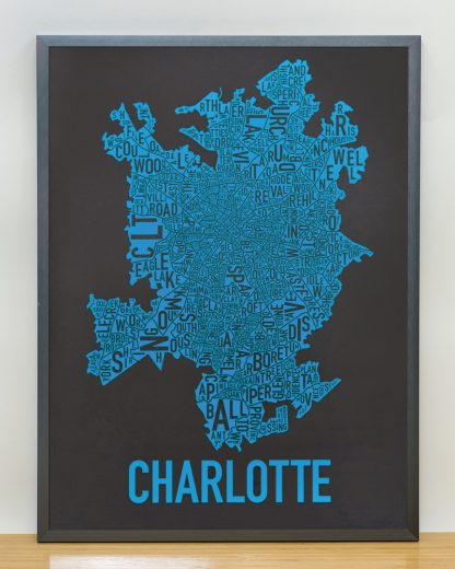 Charlotte Neighborhood Map Print Black and Blue Panthers in grey frame