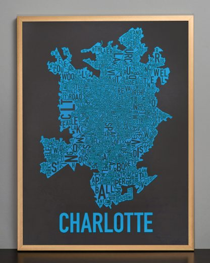 Charlotte Neighborhood Map Print Black and Blue Panthers in bronze frame