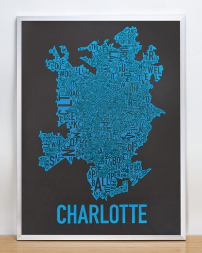 Charlotte Neighborhood Map Print Black and Blue Panthers in silver frame