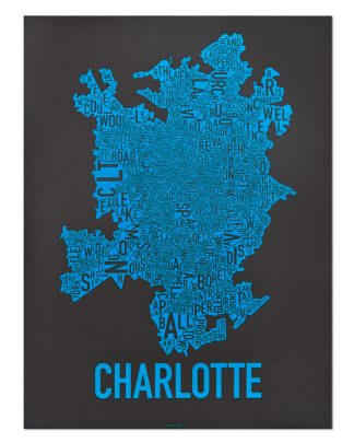 Charlotte Neighborhood Map Print Black and Blue Panthers