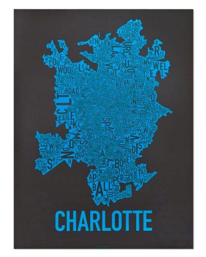 Charlotte Neighborhood Map Print Black and Blue Panthers