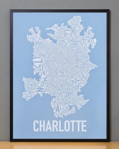 Charlotte Neighborhood Map Print Carolina Light Blue and White in black frame