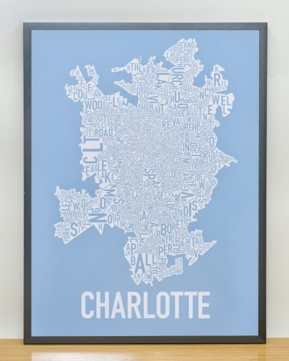 Charlotte Neighborhood Map Print Carolina Light Blue and White in grey frame