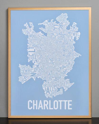 Charlotte Neighborhood Map Print Carolina Light Blue and White in bronze frame