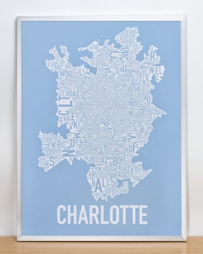 Charlotte Neighborhood Map Print Carolina Light Blue and White in silver frame