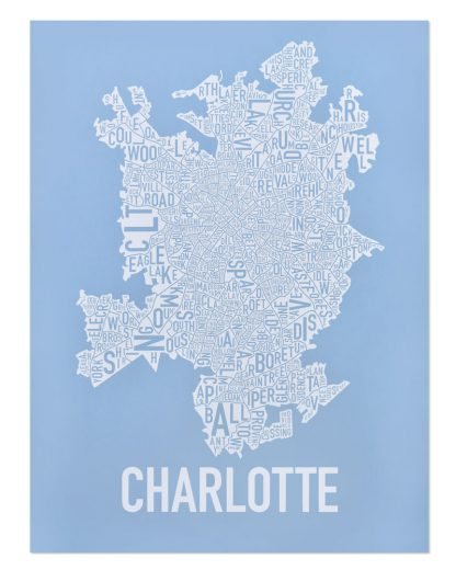 Charlotte Neighborhood Map Print Carolina Light Blue and White