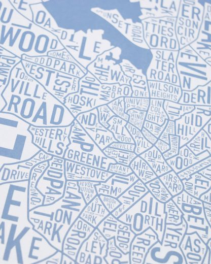 Charlotte Neighborhood Map Print Carolina Light Blue and White zoom