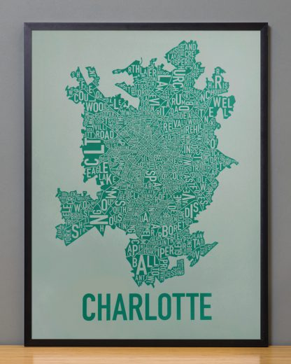 Original Charlotte Neighborhood Typographic Map Poster in Green and Grey in Black Frame
