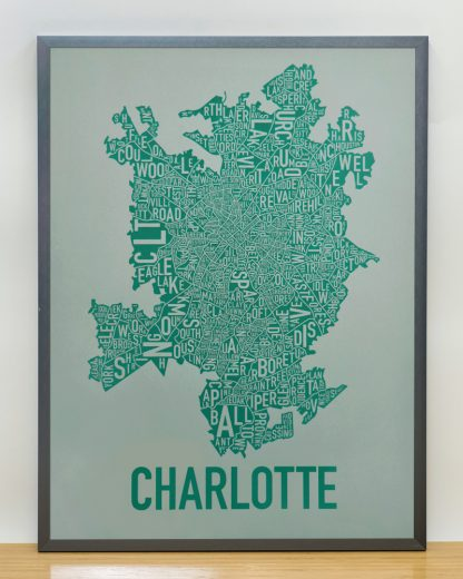 Original Charlotte Neighborhood Typographic Map Poster in Green and Grey in Grey Frame