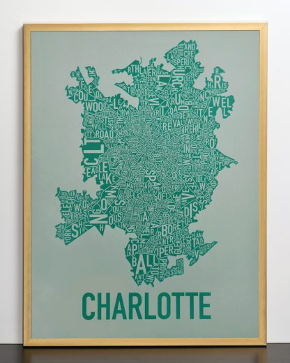 Original Charlotte Neighborhood Typographic Map Poster in Green and Grey in Bronze Frame