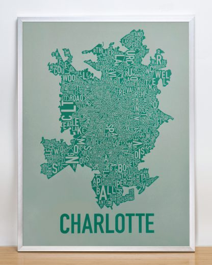 Original Charlotte Neighborhood Typographic Map Poster in Green and Grey in Silver Frame
