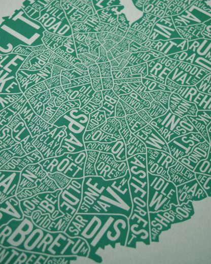 Original Charlotte Neighborhood Typographic Map Poster in Green and Grey Zoom