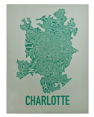 Original Charlotte Neighborhood Typographic Map Poster in Green and Grey