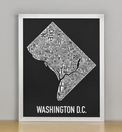 "Framed Washington DC Neighborhood Map Screenprint, Black & White, 11"" x 14"" in Silver Frame"