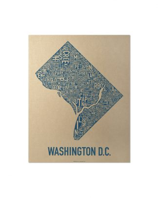 "Washington DC Neighborhood Map, Gold & Blue Screenprint, 11"" x 14"""