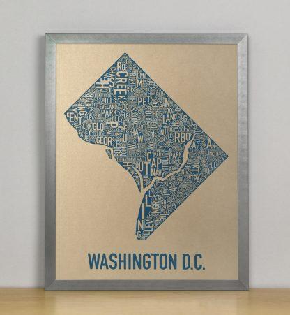 "Framed Washington DC Neighborhood Map, Gold & Blue Screenprint, 11"" x 14"" in Steel Grey Frame"