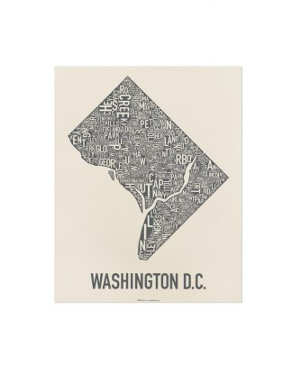 "Washington DC Neighborhood Map Screenprint, Ivory & Grey, 11"" x 14"""