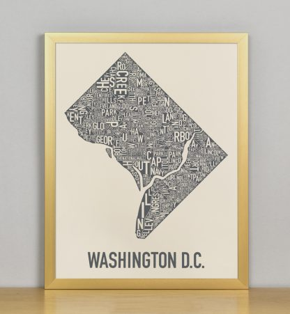 "Framed Washington DC Neighborhood Map Screenprint, Ivory & Grey, 11"" x 14"" in Bronze Frame"