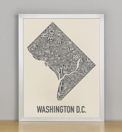 "Framed Washington DC Neighborhood Map Screenprint, Ivory & Grey, 11"" x 14"" in Silver Frame"