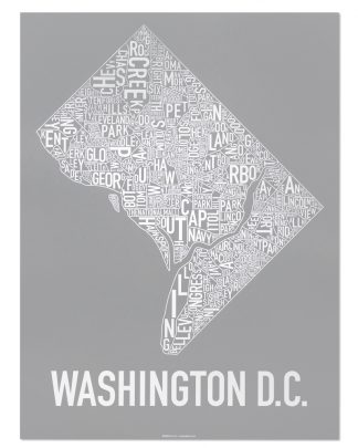 "Washington DC Neighborhood Map Screenprint, Grey & White, 18"" x 24"""