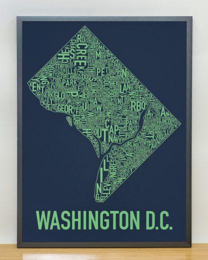 "Framed Washington DC Neighborhood Map Screenprint, Navy & Green, 18"" x 24"" in Steel Grey Frame"
