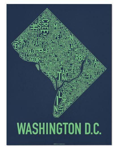 "Washington DC Neighborhood Map Screenprint, Navy & Green, 18"" x 24"""