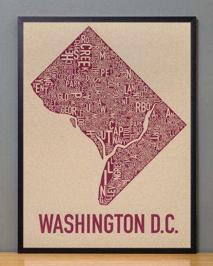 "Framed Washington DC Neighborhood Map Screenprint, Tan & Berry, 18"" x 24"" in Black Frame"