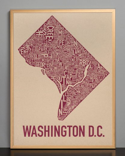 "Framed Washington DC Neighborhood Map Screenprint, Tan & Berry, 18"" x 24"" in Bronze Frame"