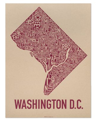 "Washington DC Neighborhood Map Screenprint, Tan & Berry, 18"" x 24"""