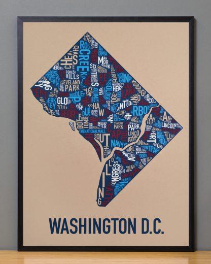 "Framed Washington DC Neighborhood Map Poster, Tan/Red/White/Blue, 18"" x 24"" in Black Frame"