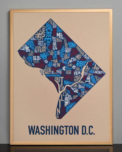 "Framed Washington DC Neighborhood Map Poster, Tan/Red/White/Blue, 18"" x 24"" in Bronze Frame"