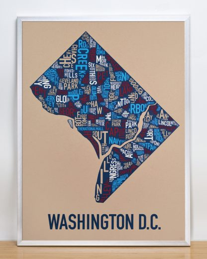 "Framed Washington DC Neighborhood Map Poster, Tan/Red/White/Blue, 18"" x 24"" in Silver Frame"
