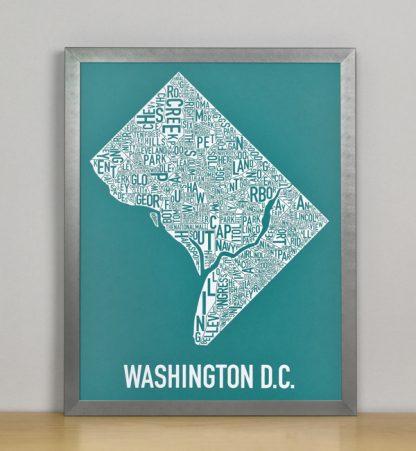 "Framed Washington DC Typographic Neighborhood Map Screenprint, Teal & White, 11"" x 14"" in Steel Grey Frame"