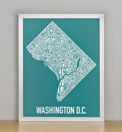 "Framed Washington DC Typographic Neighborhood Map Screenprint, Teal & White, 11"" x 14"" in Silver Frame"