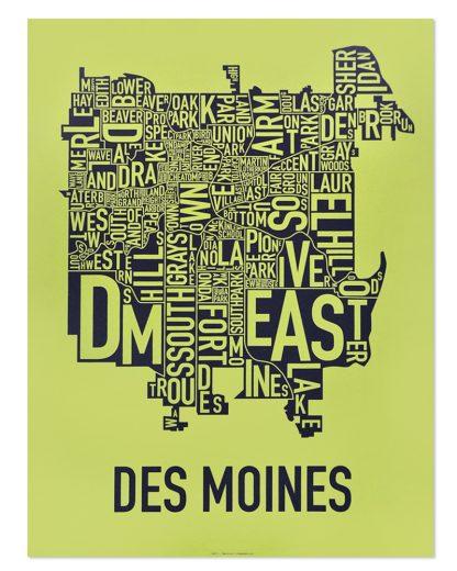 "Des Moines Neighborhood Map, Lime & Grey, 18"" x 24"""