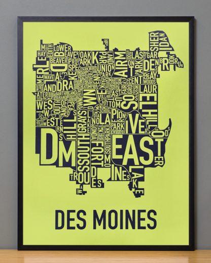"""Framed Des Moines Neighborhood Map, Lime & Grey, 18"""" x 24"""" in Black Frame"""